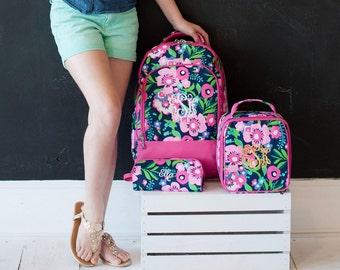 3 Piece Girls Posie Personalized Backpack Set, Monogram Pencil Case, Monogram Lunch Box, Personalized School Backpack Set, Back to School