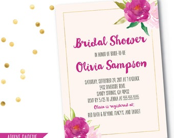 Bridal Shower Invitation, Watercolor floral invite, Blush Pink, Floral Bridal Shower Invitation, flowers watercolor bridal wedding shower,61