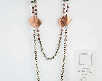 Copper Blue Wood Two Chains Necklace| Classic Elegant Statement Necklace | Chic | Spring Summer Resort | Gifts for Her