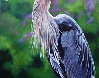 "Great Blue Heron signed and matted print from a painting by Eden Bachelder, 11"" x 14"" matted size"