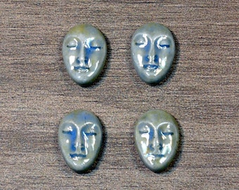 Set of Four Small Almond Ceramic Face Stone Cabochons in Castile Blue
