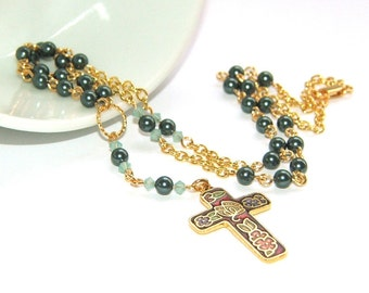 Christian Rosary Necklace, Petite Pearls with Gold - Wedding, Confirmation, Christmas Gift