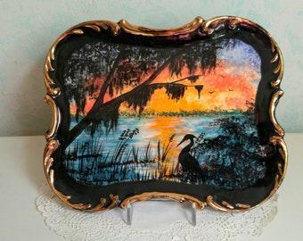 La Floride ancienne plat coucher de soleil bijou plaque Vintage des années 1960 Tropical maison Decor rétro plaque coucher de soleil Silhouette Art Heron oiseau Nature extérieure scène