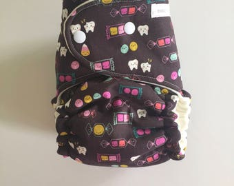 CLEARANCE - Sweet Tooth Halloween OBF Hybrid Fitted Diaper - OS Hybrid Fitted Cloth Diaper - One Size Fitted Diaper with Fold Down Rise