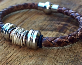 Antique brown leather and stainless steel bracelet