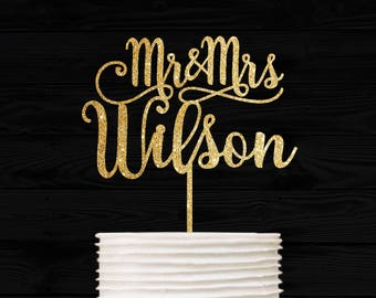 Customized Wedding Cake Topper, Personalized Cake Topper for Wedding, Custom Personalized Wedding Cake Topper, Last Name Cake Topper # 03