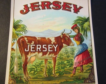 1920s Jersey Cow Farm Animals Scare Antique Embossed Cigar Label Bovine