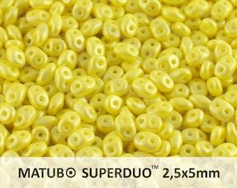 25g (300pcs) Pearl Pastel Amber Yellow Super Duo Czech Glass Seed Beads 5x2.5mm