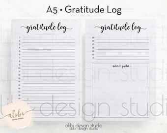 Gratitude Journal, A5 Planner Inserts, Gratitude Planner, Gratitude Log, Printable Planner, Daily Gratitude, Daily Planner, A5 Filofax