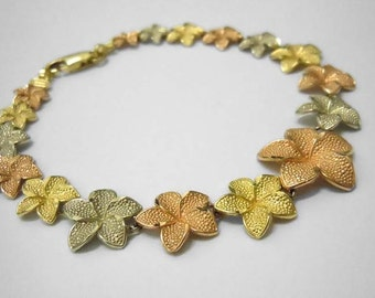 14kt Tri Color Gold Graduated Textured Leaves Bracelet 14k Leaf Link