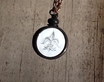 Fleur de Lis Illustration French New Orleans Saints Drawing on White Enameled Copper Penny Oxidized Nickel Bezel Pendant Necklace