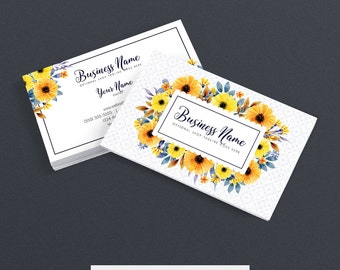 Business Card Designs - Etsy Shop Business Cards -  2 Sided Printable Business Card Design - Floral Business Card Design - FAC