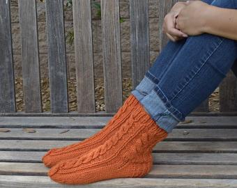 Hand knit socks cable knit socks bed socks carrot orange womens socks gift for her handmade birthday Christmas gift under 35 warm socks
