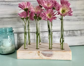 Test Tube Flower Vase, Farmhouse Decor, Whitewashed Wood, Centerpiece, Bud  Vase.