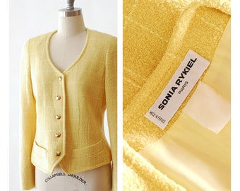 vintage Sonia Rykiel yellow boucle wool blazer / size medium