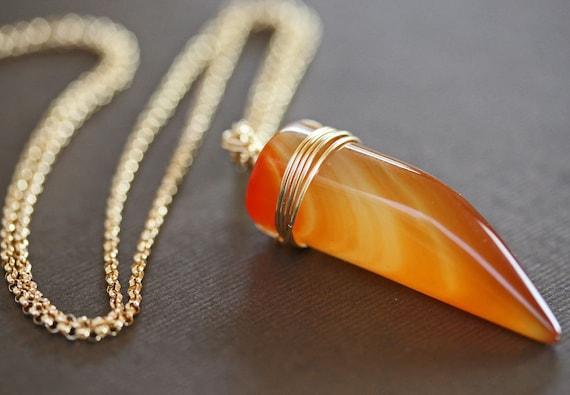 Spike Necklace - Agate Necklace - Orange Pendant - Carneilan Jewelry
