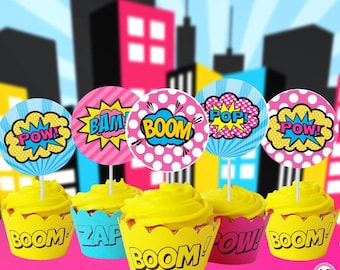 Instant Download Cupcake toppers, circles, hero, boom, supergirl, 60% savings  Party Decoration, centerpieces, labels, banner, signs avail