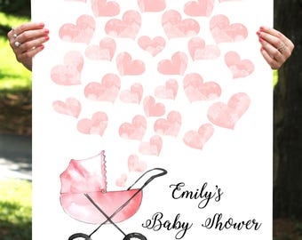 Heart Guest Book - Heart Baby Shower Guest Book - Heart Guestbook - Pink Hearts Guest Book-Baby Girl Shower -Printable, Custom, Digital File