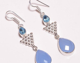 Blue Quartz & Blue Chalcedony Silver Plated/Overlay Earrings  Jewelry