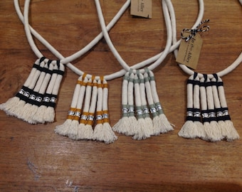 100% Cotton Necklace Boho style Syx Frayed Lines -The Original