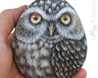 Little Owl Hand Painted On a Smooth Sea Rock! A Stunning Piece for All of You, Owl Lovers!