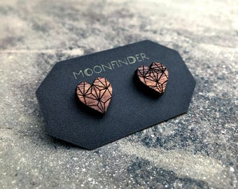 Wooden Heart Studs Geometric Dark Wood Earrings - Boho Love Bridesmaid Gift for Her Eco Friendly