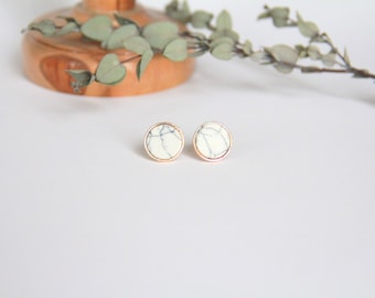 Smaller White Marble earrings, Marble earrings, White Circle studs, Marble jewelry, Small Earrings, Dainty Jewelry Bridal Bridesmaid