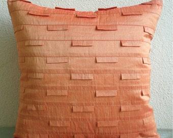 Orange Ocean - Pillow Sham Covers - 24x24 Inches Silk Pillow Sham Cover in Orange