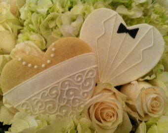 Bride Dress & Groom Tuxedo Cookie Favors-1 Dozen