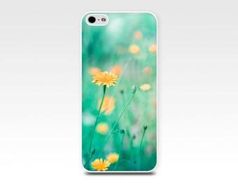 floral iphone case 4 4s 5 5s 6 flowers dandelion iphone 5s case botanical iphone 4 4s 5 case nature summer green teal fine art iphone case