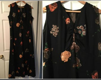 Vintage 1970s Collura Black Floral Maxi Dress Size 12