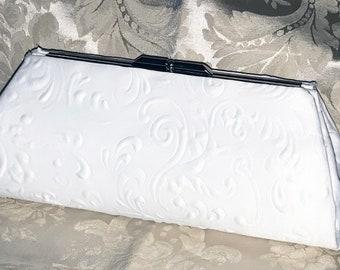 NEW Handmade Wedding Bridal Puffed Scrollwork Bride Clutch Purse Bag