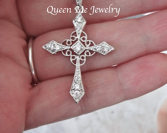Silver Cross necklace Cubic Zirconia cross Christian jewelry Brides cross necklace Wedding Bridal Cross of Christ Christian bridal jewelry