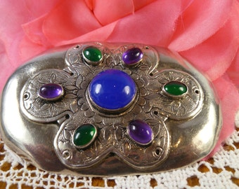 Rare 1980s TULLA-BOOTH Handmade Jeweled Sterling Silver Vintage Brooch HUGE 8cm x 5cm