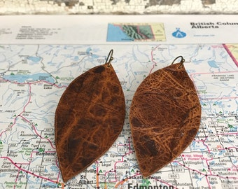 Brown Textured Leather Earrings