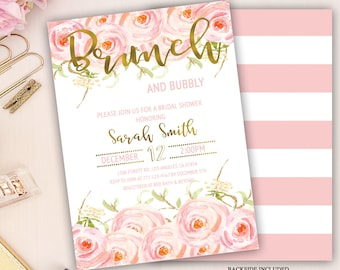 floral brunch and bubbly bridal shower invitation, brunch and bubbly invitation, wedding shower invitation, bridal luncheon, bridal tea