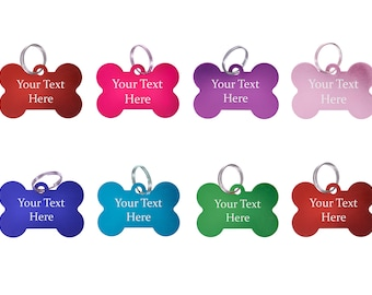Metal Engraved Plain Coloured Bone Shaped Dog Tags - Pet ID Collar Charms