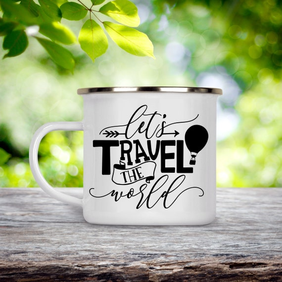 Camp Cup Let's Travel the World - Hot Air Balloon Enamel Camp Mug - Dishwasher Safe