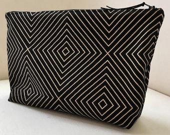 Black and Gold Zip Clutch. Black Nappy Clutch. Nappy Wallet. Evening Clutch Bag. Clutch Bag. Large Purse. Toiletries Bag. Monochrome Clutch