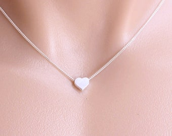 925 Sterling silver Heart Necklace On 925 Sterling silver chain . Small Heart Necklace, Heart Jewellery, Simple Necklace.