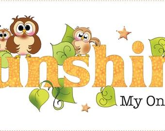 "6"" x 18"" Owl Sunshine Art Panel"