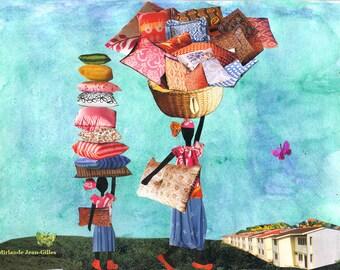 Comfort Bringers. Haiti. Collage. African American. 14 x 11. Art Print.