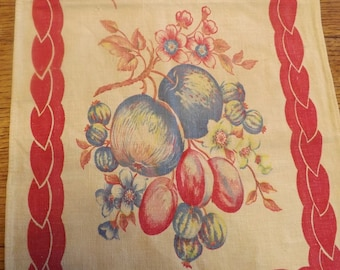 Vintage Printed Table Runner With Fruit And Flower Design