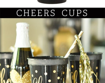 Wedding Cups - Plastic Cups for Wedding - Cheers Cups - Cocktail Cups - Bridal Shower Cups - Reusable Cups  (EB3104CH) set of 25 CHEERS CUPS