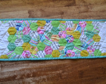 Modern Bright Quilted Table Runner, Turquoise, Pink, Green, Wall Hanging, Hexagons