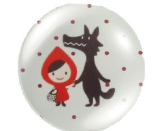 1 cabochon 25mm round glass little Red Riding Hood fairy tale.
