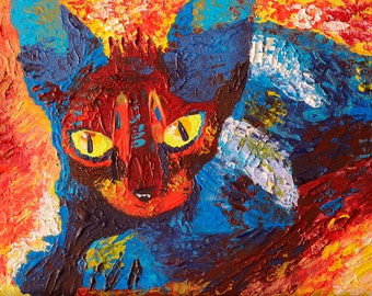 "Art Painting - Cat - PALETTE KNIFE -  Art Painting On Canvas Panel By Irena Rudman - Size : 9"" x 12"" (22.8 cm x 30.4 cm)"