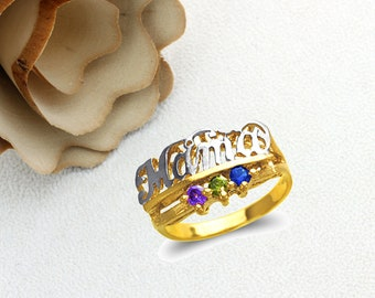 Mother's Day Gift 14K Real Solid Gold Moma Ring With Amethyst Peridot Blue  Color CZ Band Size 5 to 9