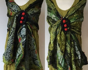 Green & black reversible Nuno felted silk and wool shawl collage shawl -  lagenlook - ready to ship Art to Wear