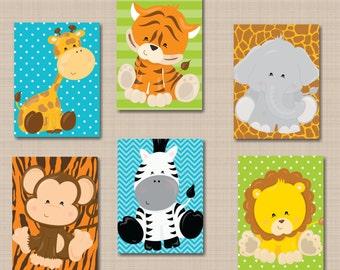 Jungle Animals Nursery Wall Art Safari Nursery Wall Art Zoo Animals Nursery Wall Art,Safari Nursery Decor,Animals Wall Art Decor-UNFRAMED253